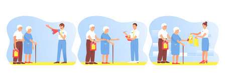 Set with an elderly couple traveling shopping. Upon hearing an advertisement for a product, the customer bought it in the store. Customer survey. A satisfied customer. Vector flat illustration. Ilustração
