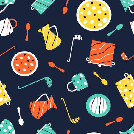 Utensils seamless pattern for children's games. On a dark background, pan, cups, spoons, ladles, plates, jugs. Pattern for kitchen fabric. Flat vector illustration.