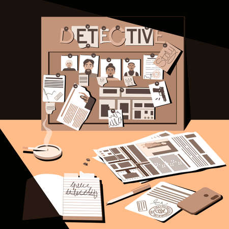 Desk of a detective, investigator and night shift worker. Late in the evening, a lamp falls on the desktop. Investigation, evidence board. View from above. Flat vector illustration.