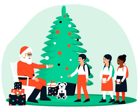 Happy children came to visit Santa Klaus. Santa sits near the Christmas tree and gifts and waits for guests. Boys and girls are waiting in line to see Santa Claus. Flat vector illustration.