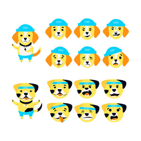 Set of cute Bulldog and Beagle emotions. A dog can be different happy, sad and kind. Sports accessories bone, bandage, hat and pants. Flat cartoon vector illustration.