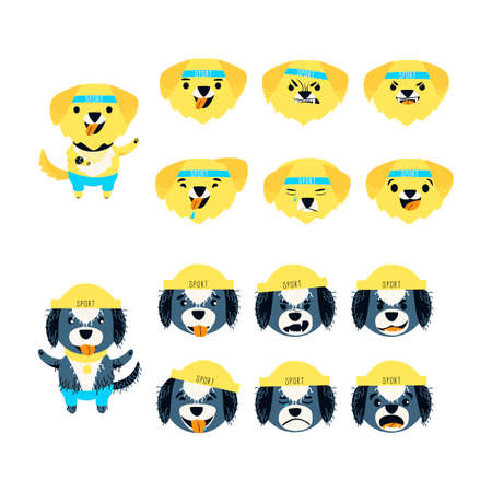 Emotion set of cute Labrador retriever and Portuguese water dog. The dog can be different happy, sad and kind. Sports accessories watches, bandage, hat and pants. Cartoon flat vector illustration.