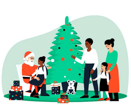 Dad and daughter of African Americans came to visit Santa Claus. The girl is sitting in Santa's arms. Mom and daughter are waiting for their turn. Flat vector illustration.
