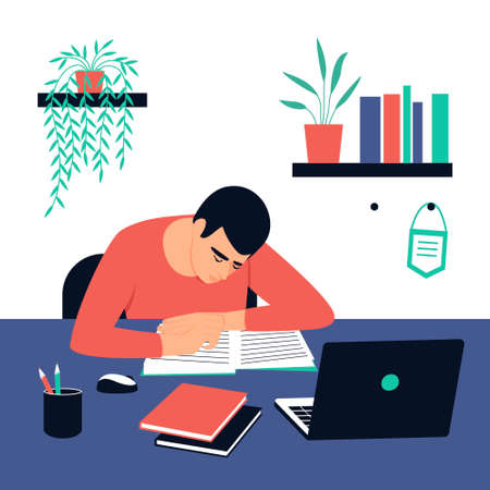 The student sits at his desk and does his homework. A laptop and books are on the table. Concept for learning at home in isolation or doing homework. Flat vector illustration.
