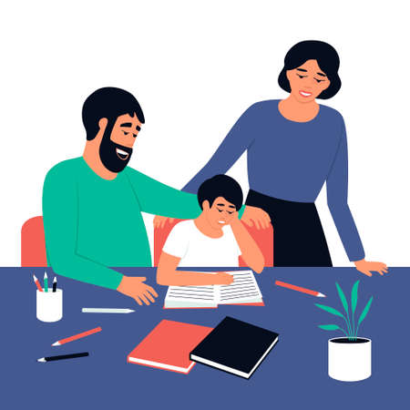 Dad and Mom watch their son read a book. Study, study process at home. Parents and child spend time together. The boy reads a textbook while sitting at his desk. Flat vector illustration Vettoriali