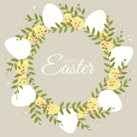 Easter wreath with floral elements and quail hen eggs. Decorative frame made of white Easter eggs. Border for celebration decoration design. Flat vector illustration.