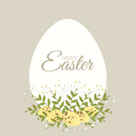 Easter card with floral elements and quail hen eggs. Decorative frame made of white Easter eggs. Border for celebration decoration design. Flat vector illustration.
