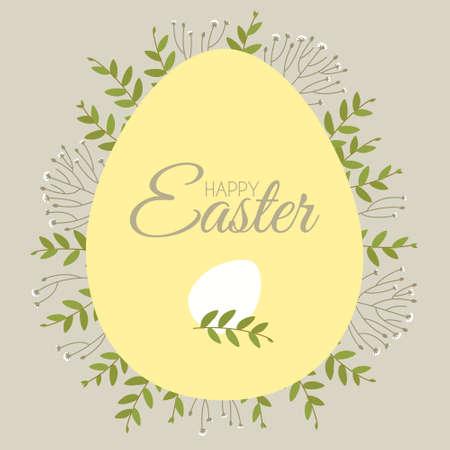 Easter card with floral elements and eggs. Decorative frame made of Easter egg. Border for celebration decoration design. Flat vector illustration. Çizim