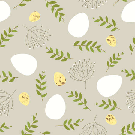 Seamless Easter pattern with floral elements and quail eggs. Ornament from white Easter eggs. Square for festive decoration. Delicate floral pattern. Flat vector illustration. Ilustração