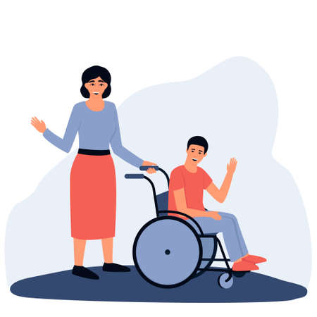 Mom on a walk with her disabled son. Boy in a wheelchair. The concept of an accessible environment for people with disabilities. Flat vector illustration. Stock Illustratie