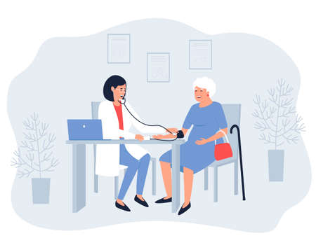 The therapist measures the blood pressure of aged woman. For older people, blood pressure needs to be measured. A pensioner is consulted by a doctor. Flat vector illustration. Vektoros illusztráció