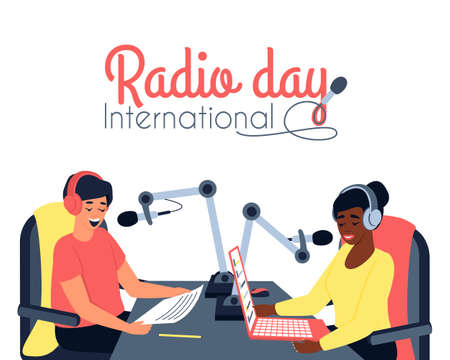 There are two radio presenters, a man and a woman, in the studio. Postcard international radio day. Podcast is a modern format for presenting information. Flat vector illustration
