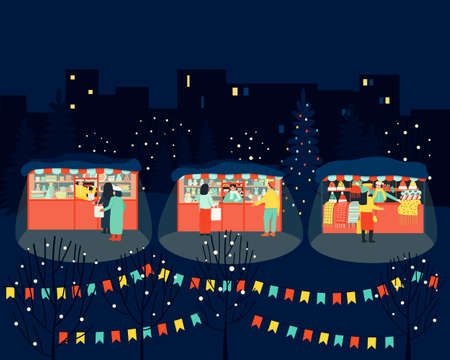 Merry winter market in the evening. Illustration for shopping lifestyle design. The seller at the stall serves buyers. Winter season. Flat cartoon colorful vector illustration. Vektorgrafik