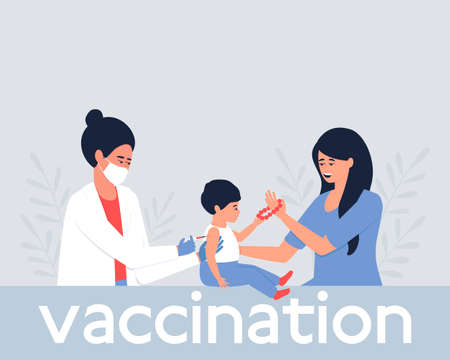 Close-up the nurse gives the vaccine to the child in the presence of the mother. Mom with a child in a treatment room on a routine vaccination. Vaccination inscription. Flat vector illustration.