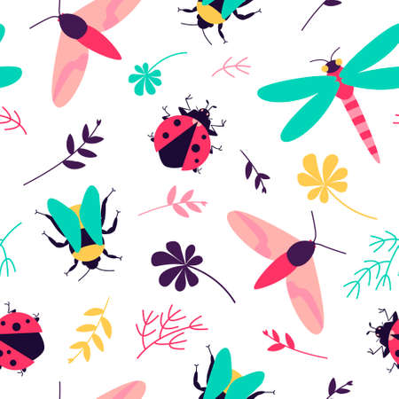Seamless pattern with insects - butterfly, bumblebee, dragonfly, ladybug and floral motifs. Colorful summer meadow for fabric design. Flat vector illustration.
