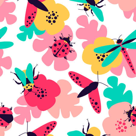 Close-up seamless pattern with insects - butterfly, bumblebee, dragonfly, ladybug and floral motifs. Colorful summer meadow for fabric design. Flat vector illustration. 向量圖像