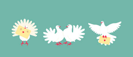 A set of white doves is a symbol of peace and family well-being. A couple of pigeons are often used at weddings. The dove delivers a love message. Flat vector illustration.