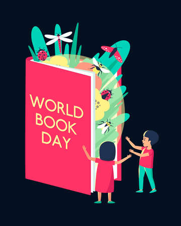A boy and a girl with surprise and admiration look at the revived pictures in the encyclopedia of the book. World Book Day. Beautiful insects fly out of the book. Flat vector illustration. Vektorové ilustrace