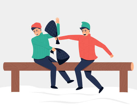 In Russia, the traditional entertainment of Shrovetide is bag wrestling, an active game of balance. All winter season. Flat vector illustration.