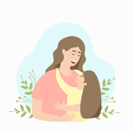 Happy mom and daughter hugging on a background of floral motives. Mothers Day. The concept of love and protection of the child by the parent. Flat vector illustration.