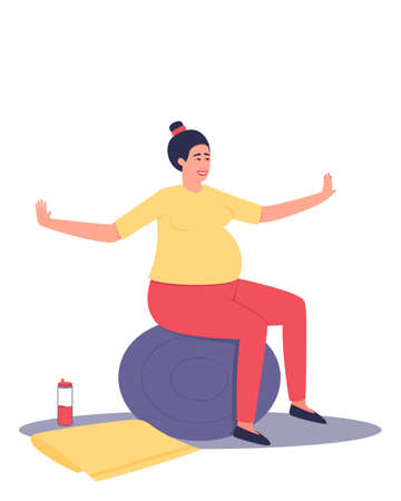 A pregnant woman is sitting on a ball. Relaxation of the pregnant woman. Reducing the load on the spine, relaxing the muscles. Flat vector illustration.