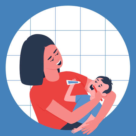 Mom lovingly brushes her baby's teeth. Mother's care for the health of the baby's milk teeth. Young children are unable to brush their teeth on their own. Flat vector illustration.