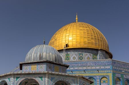 Al-Aqsa Mosque, the shrine of Islam in Jerusalem. Details of the Dome of the Rock located on the Temple Mount in the Old Town.