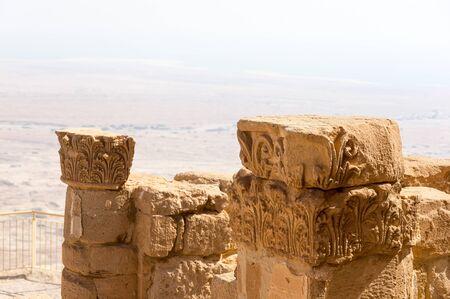 Ruins of ancient Masada fortress in IsraelFragment of the ruins of the ancient Masada fortress in Israel Banco de Imagens