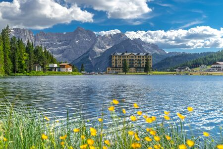 Landscape on Lake Misurina in the Italian Alps. Summer landscape in the Italian Dolomites. South Tyrol Italy. Europe