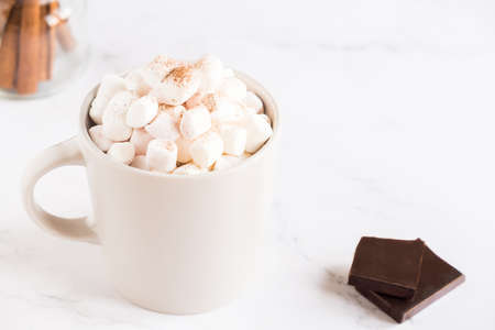 Cup of hot cocoa with marshmallows on light background with copy space.