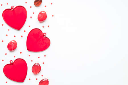 Valentine's day, love, romantic concept. Red hearts on a white background with copy space