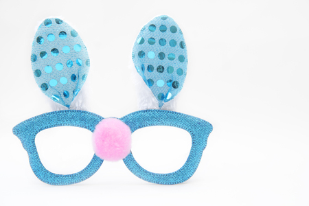 Turquois party easter glasses with rabbits ears Stock Photo