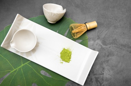 Set for preparing matcha tea, green leaf