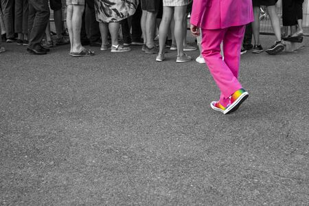 Gay rainbow flag shoes, black white crowd Banco de Imagens
