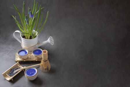 Blue matcha tea, muscari flower, dark background