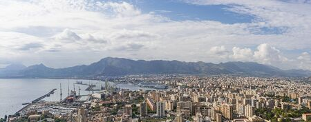 View of Palermo city and coastline from mountain. Italy, Sicily Standard-Bild
