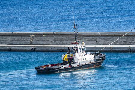 Pilot boat tugboat in port