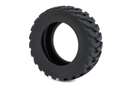 Truck tire or forklift tire, 3D rendering isolated on white background