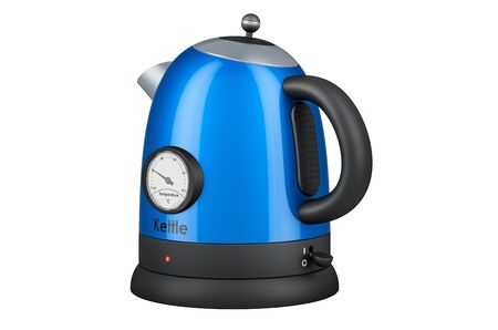 Blue Electric Kettle, retro design. 3D rendering isolated on white background Archivio Fotografico