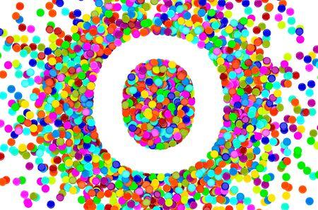 Confetti font, letter O from colored confetti. 3D rendering isolated on white background Foto de archivo