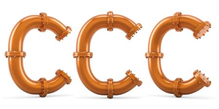 Letter C from copper pipes, 3D rendering isolated on white background