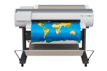 Wide Format Printer, plotter with map of world. 3D rendering isolated on white background 免版税图像