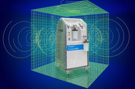Visualization 3d cad model of Home Oxygen Concentrator, blueprint. 3D rendering
