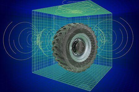 Truck wheel, visualization 3d cad model, blueprint. 3D rendering
