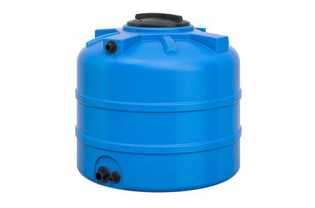 Blue Plastic Water Tank, 3D rendering isolated on white background