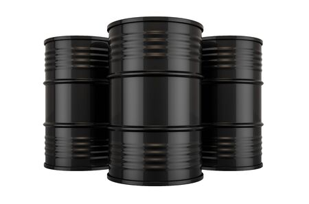 Black Steel Drums, Oil Barrels. 3D rendering isolated on white background Фото со стока