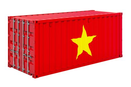 Cargo container with Vietnamese flag, 3D rendering isolated on white background   Фото со стока