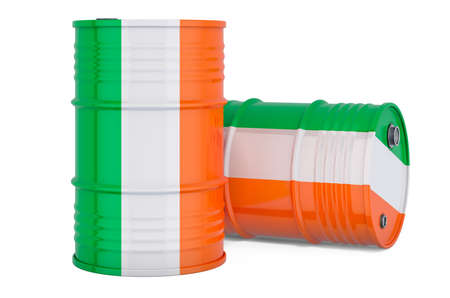 Steel drum, barrel with Irish flag, 3D rendering isolated on white background