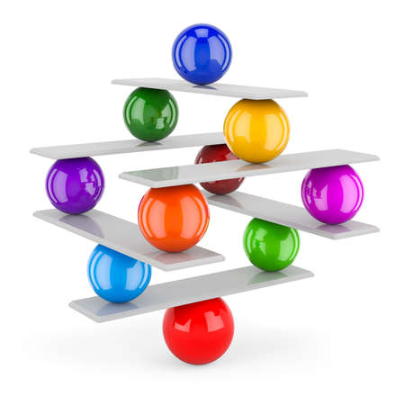 Balance concept from seesaw and colored spheres, 3D rendering isolated on white background