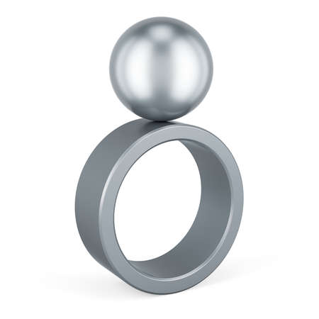 Balance concept with ring and sphere, 3D rendering